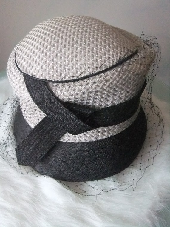 Vintage hat grey fabrics with veil