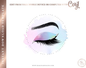 d193846fb7f EYELASH LOGO DESIGN, Eyelashes Logo, Logo design, Logo, Premade logo, Logo  Template, lash technician, beauty salon, lash logo, rainbow