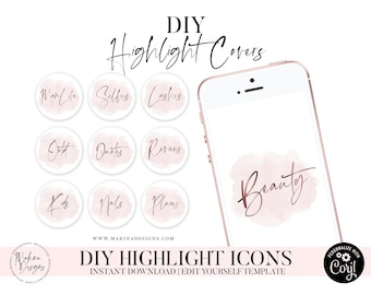 DIY Instagram Highlight Icon Covers - Instagram Stories - Instagram Story Covers - watercolor - Pink - Highlight Covers - Text Icons