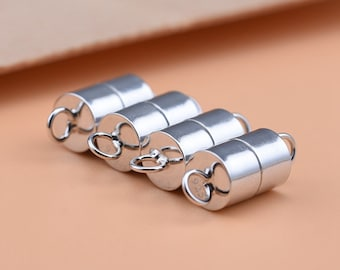 Pack of 4 Brass Column Silver Magnetic Clasps 20 x 8mm