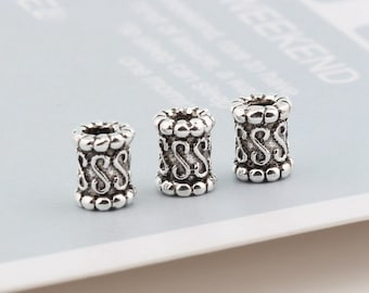 Tibetan Silver Hollow Tube Carved Spacer Beads Bracelets Jewelry Findings 21x5mm
