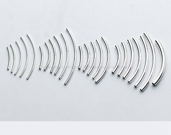 Curve Tube Beads 10X 925 Sterling Silver Tube Bead Bracelet Bead,Necklace Bead