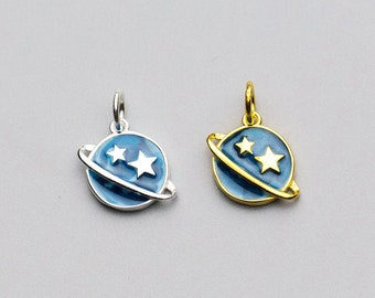 144cab6ce Sterling Silver Cute stars and planet charm, Charms In Bulk, necklace  charm, earring charm, tiny charm, small charm, planet charm pendant