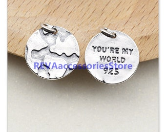 10pcs SHINNY silver color 2sided Puerto Rico map design charms