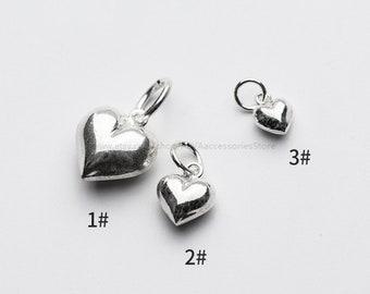 0ec5b3ace 1~100pcs Sterling Silver Heart Charm Pendant, Bracelet Charm, Necklace Charm,  Charms in Bulk, Tiny Charm, Small Charm, Puffed Heart Charm
