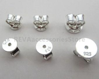 100//200 Silver Plated Ear Nuts Stoppers Butterfly Earring Backs Scrolls Push Fit