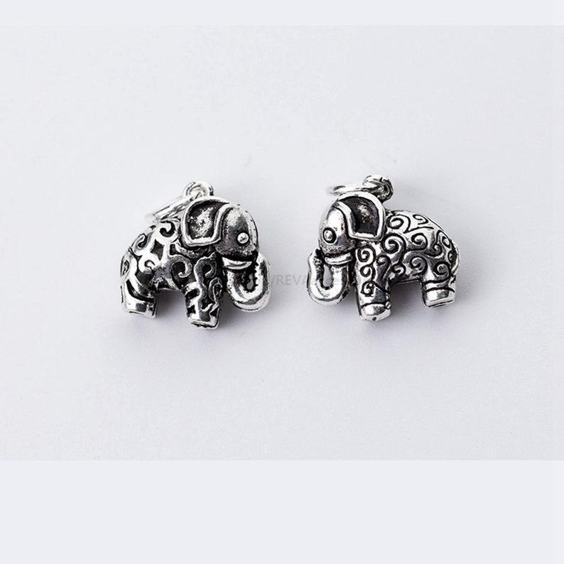 2pcs Sterling Silver Elephant Charm Necklace Charm Bracelet Charm Animal Charm Small Charm Elephant Charm Pendant Tiny Charm
