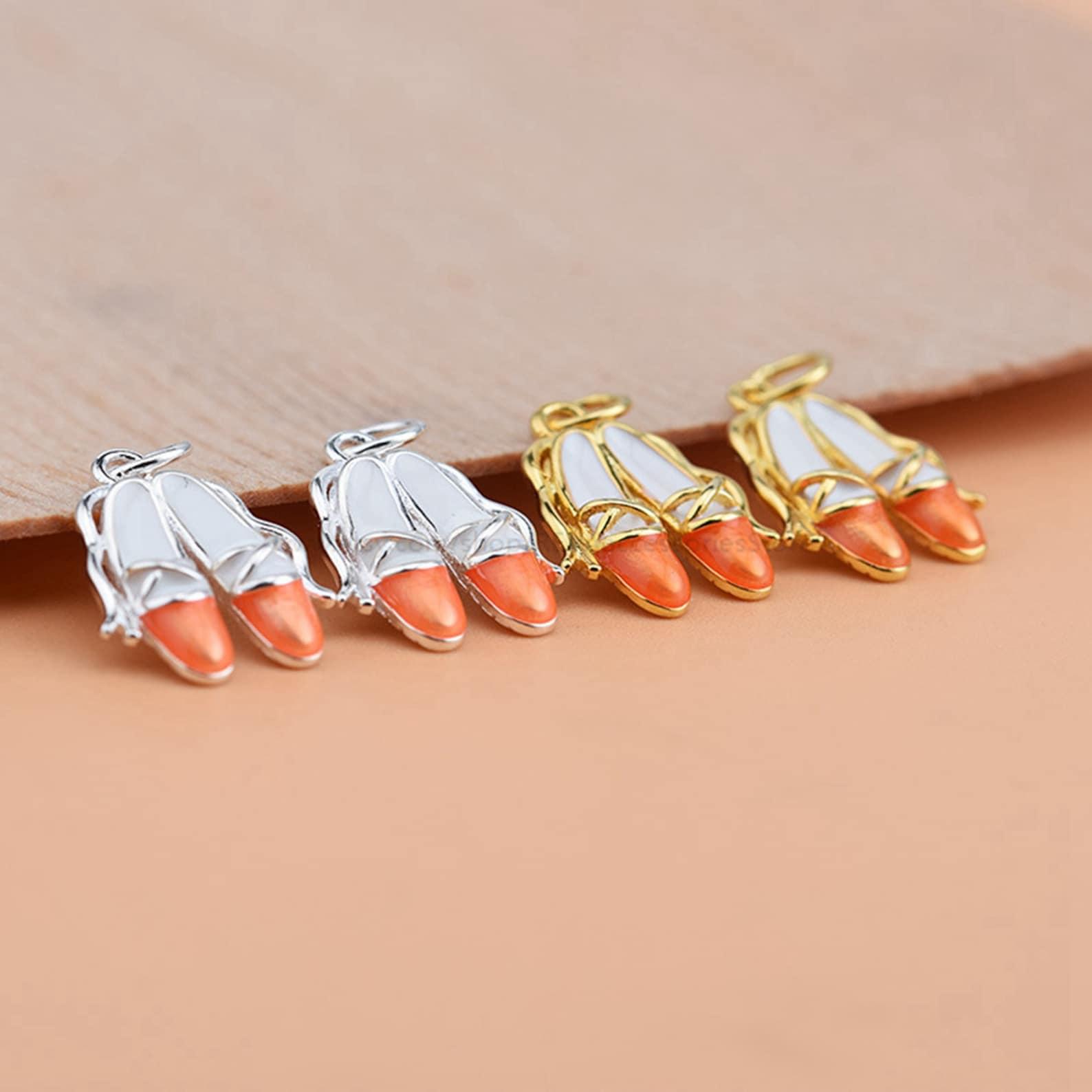 sterling silver dancing shoes charm, bracelet charm, necklace charm, 3d charm, small charm, ballet shoes charm pendant