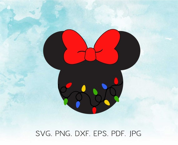 Christmas Minnie Mouse Head.Disney Christmas Svg Minnie Mouse Head With Christmas Lights Svg Girl Christmas Shirt Svg Cricut Silhouette Cuttable File Dxf Png Eps Bulb