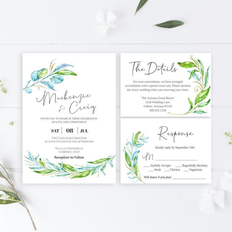 b366c9f401e18 Editable Watercolor Boho Greenery Wedding Invitation template Suite with  Eucalyptus Leaves Printable ,Instant Download Templett W218