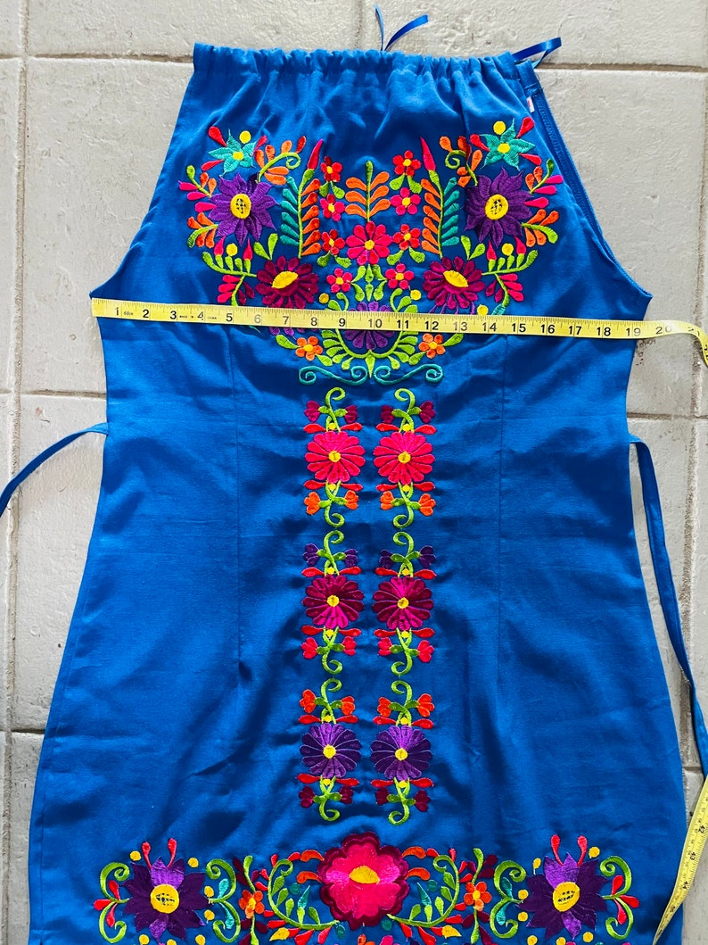 Mexican dress floral embroidery dress