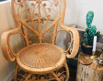 Antique Wicker Chair Etsy