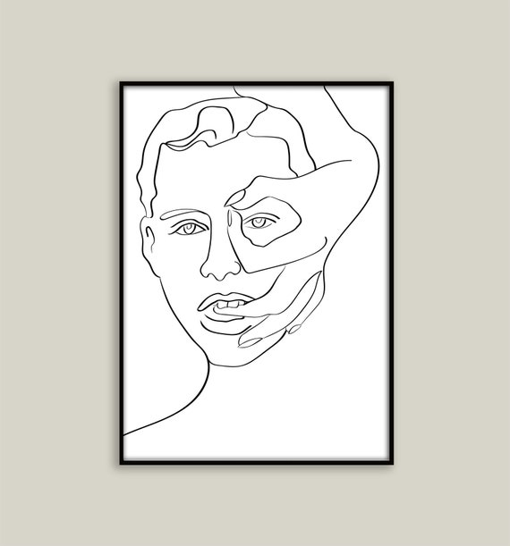 Line Drawing Face Line Art Abstract Art Abstract Poster Wall Art Line Abstract Face Sketch Printable Minimalist Drawing