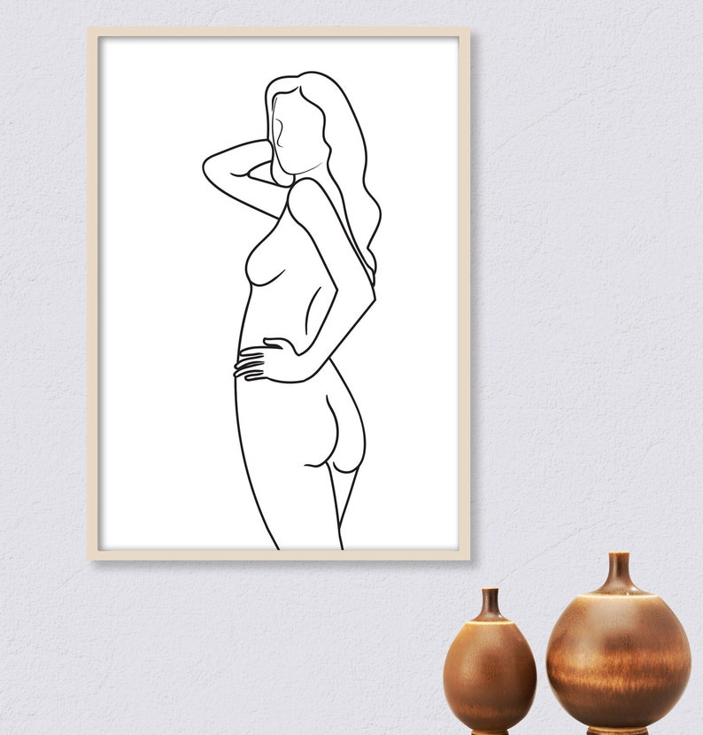 Figure Sketch Nude Girl Art Naked Woman Poster Body Outline Drawing Female Body Drawing
