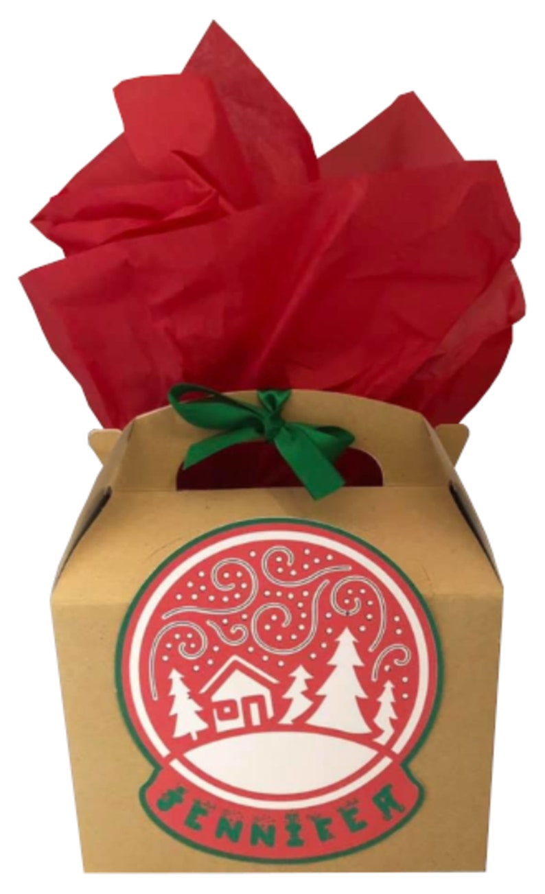 Personalised Brown Christmas Xmas Small Gift Box Party Present Box Giftbox