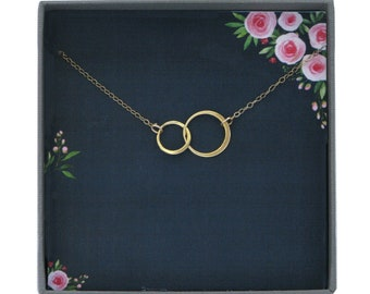 N114 Dainty Necklace Gold and Silver Love Knot Circle Two Circles Necklace Hammered Circles Delicate Necklace Mixed Metals