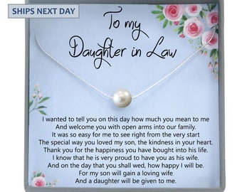 07f6792b Daughter-In-Law Gift Necklace: Wedding Gift, Jewelry From Mother-In Law,  Gift for Bride Single Pearl Necklace