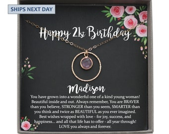 Personalized 21st Birthday Gift For Her Jewelry Birthstone Necklace Ideas Girl Twenty First