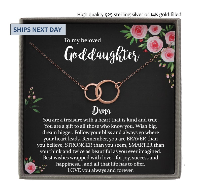 First Communion Gift Girl Goddaughter baptism gift Confirmation gifts for girls Goddaughter Necklace Goddaughter Gifts from Godmother