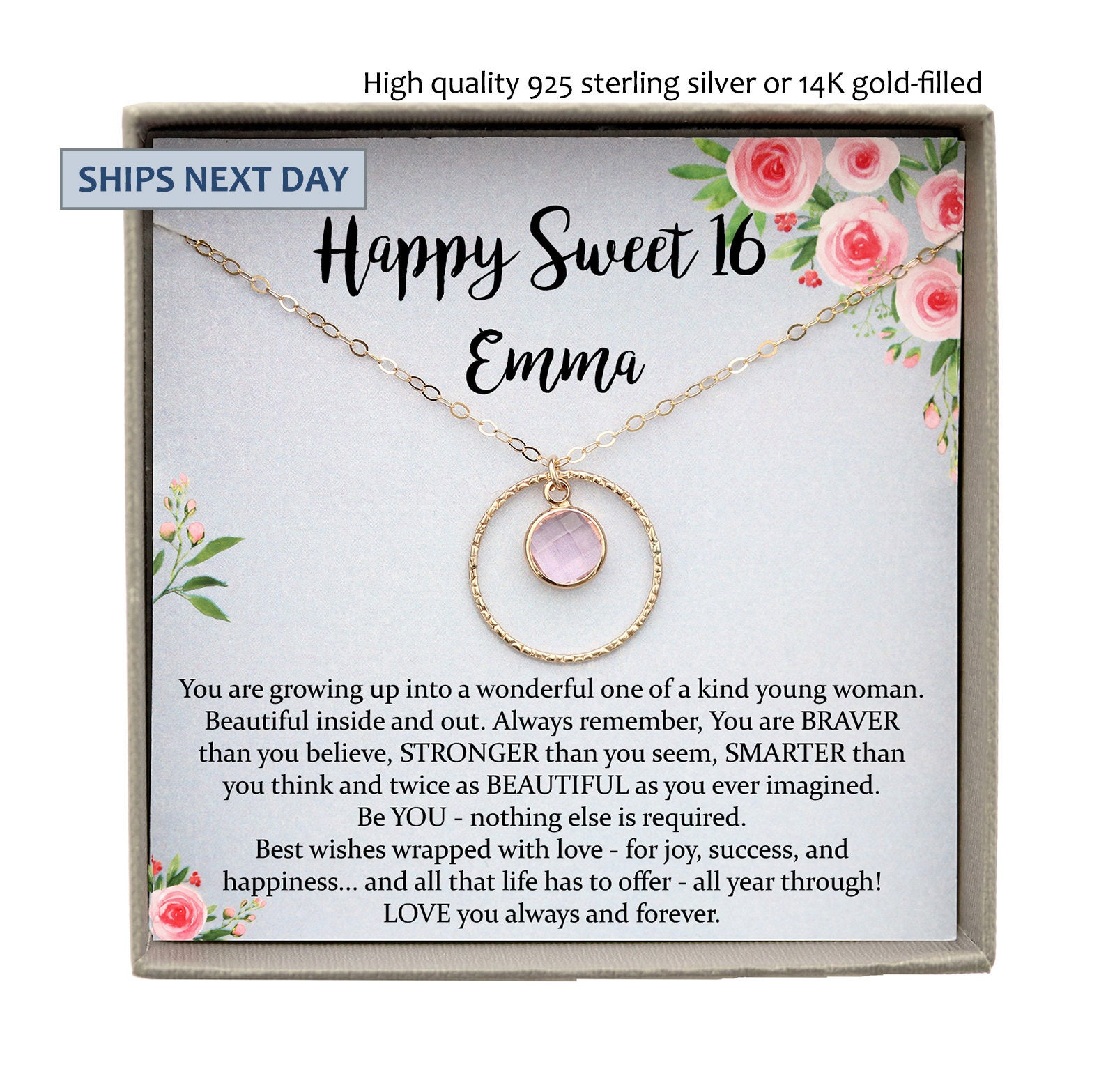 Sweet 16 Gift 16th Birthday Gift Girl Necklace Sweet 16