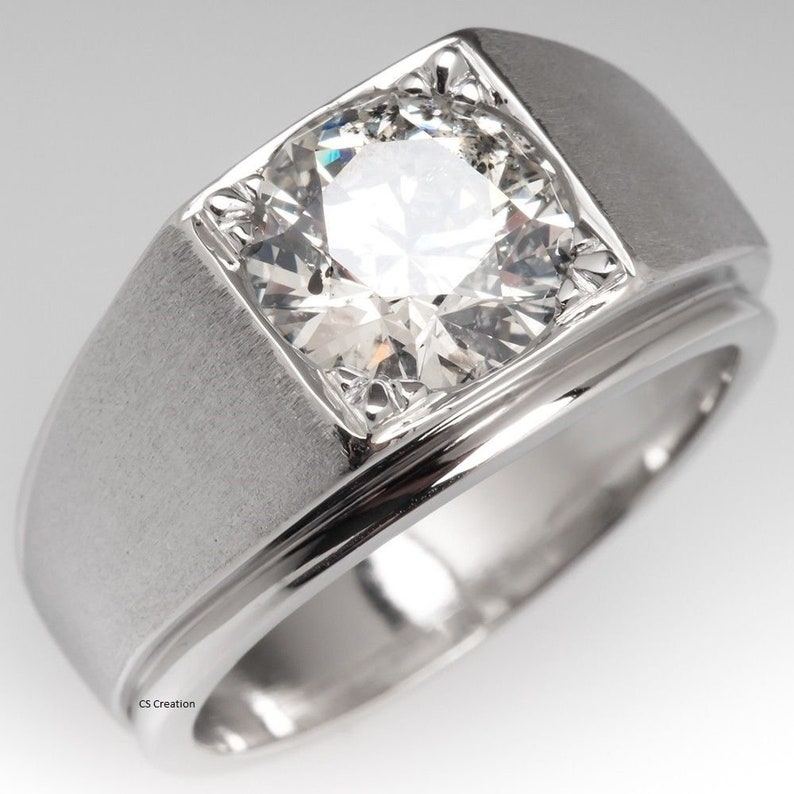 White Round Moissanite Solitaire Engagement Man/'s Ring 925 Sterling Silver 1 Ct