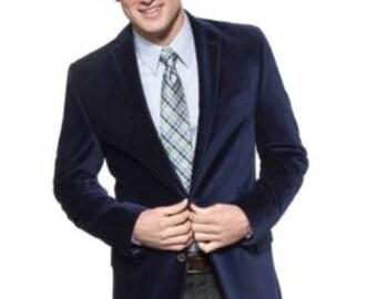 Mens  Designer Velvet  Blue Tuxedo Jacket Classic Elegant Groomsman Wedding Evening Cocktail Party Host Party Blazer Easter Coat