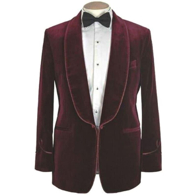 New Vintage Tuxedos, Tailcoats, Morning Suits, Dinner Jackets Christmas Jacket Mens Burgundy Blazer Velvet Tuxedo Jacket Wedding Party Wear One Button Suits Dinner Coat Gift For Men  AT vintagedancer.com