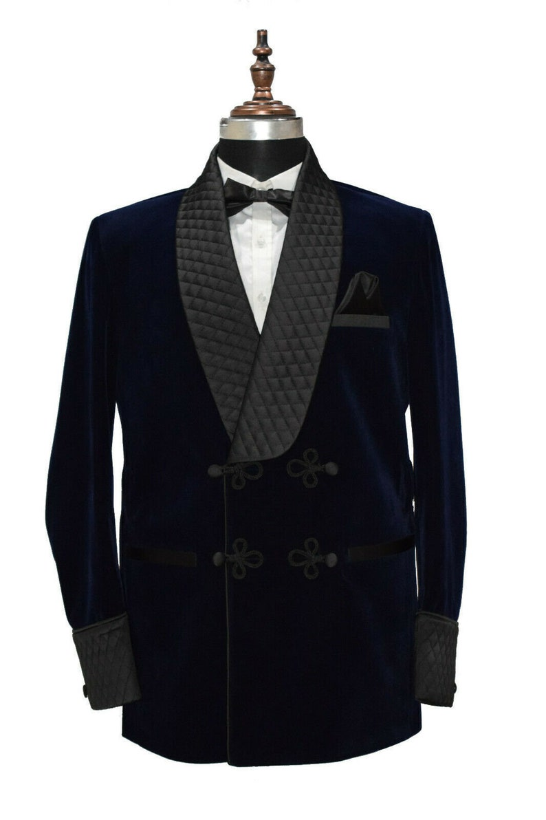 1920s Men's Suits History Mens Smoking Jacket Robe Quilted Blue Velvet Coat Evening Dinner Cocktail Party Wear Blazer $170.37 AT vintagedancer.com