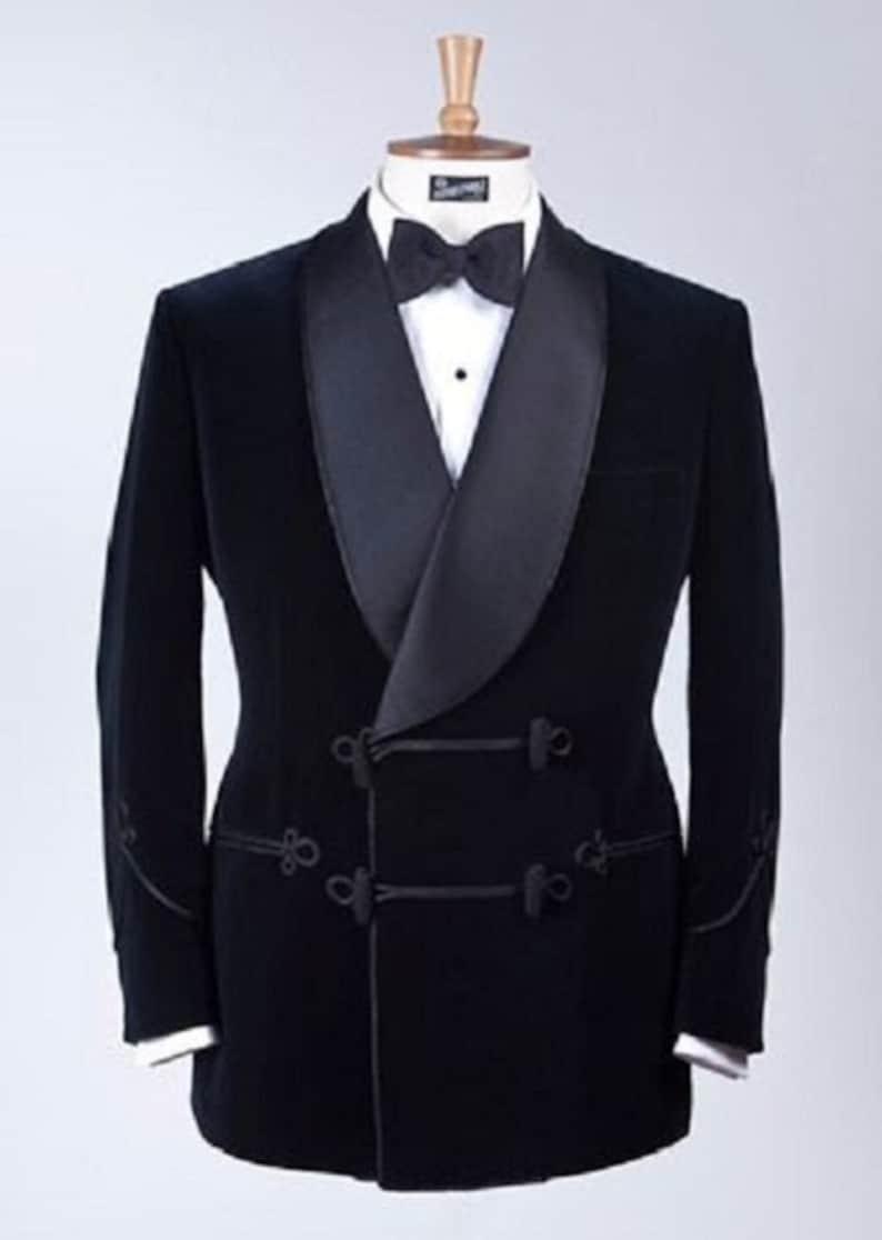 Edwardian Men's Formal Wear Mens Tuxedo Jacket Blue Velvet Blazer Groom Wedding Christmas Party Wear Dinner Frog Closure Jacket Coat Gift For Him  AT vintagedancer.com