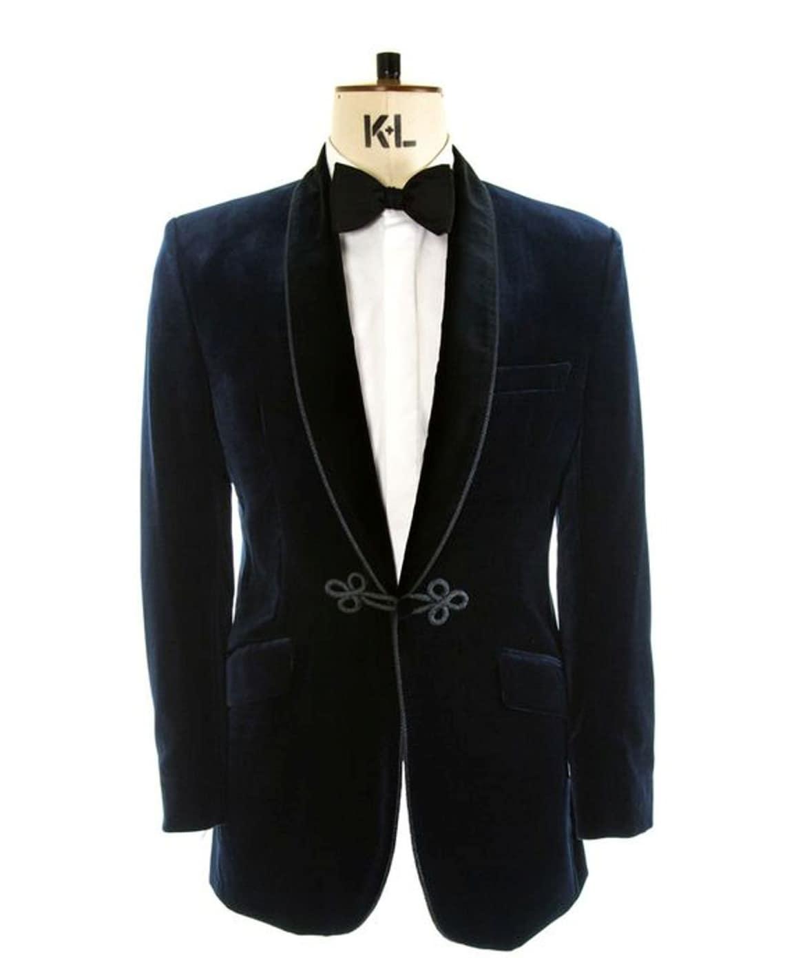 1920s Men's Evening Wear History: Tuxedos to Tailcoats Mens Velvet Blazer Handmade Blue Smoking Jacket Christmas Evening Party Wear Wedding Dinner Tuxedo Coat Gift  AT vintagedancer.com