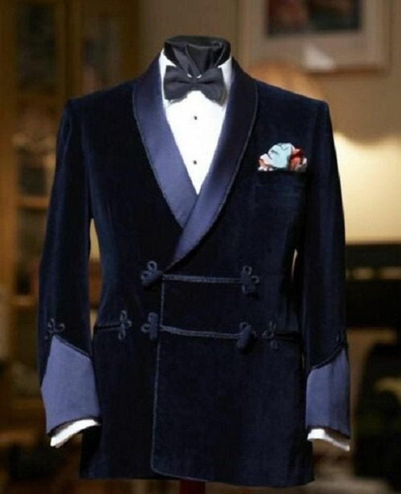 New Vintage Tuxedos, Tailcoats, Morning Suits, Dinner Jackets Mens Velvet Tuxedo Jacket Blue Blazer Christmas Jacket Wedding Groom Suit Dinner Blazer Frog Closure Jacket Gift For Him  AT vintagedancer.com