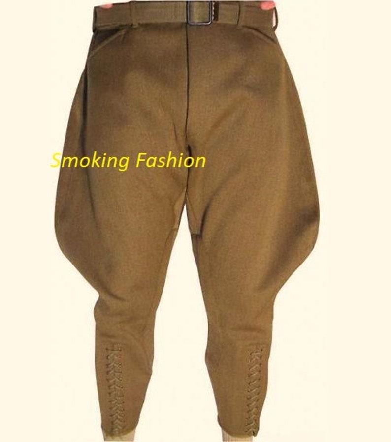 1940s Men's Clothing Mens Khaki Jodhpurs Breeches Traditional Equestrian Sports Trousers Horse Riding Pants Baggy Polo Pants $124.65 AT vintagedancer.com