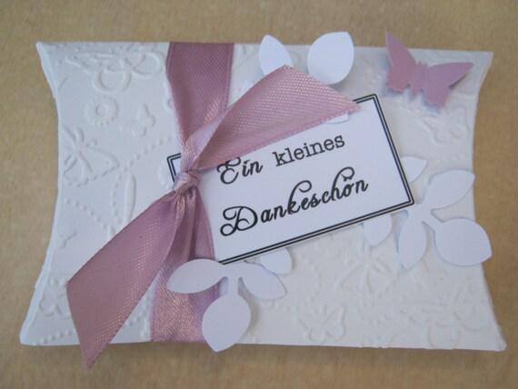 10 Pillow Box Faltschactel Kissenschachtel Gastgeschenk Hochzeit Taufe Kommunion