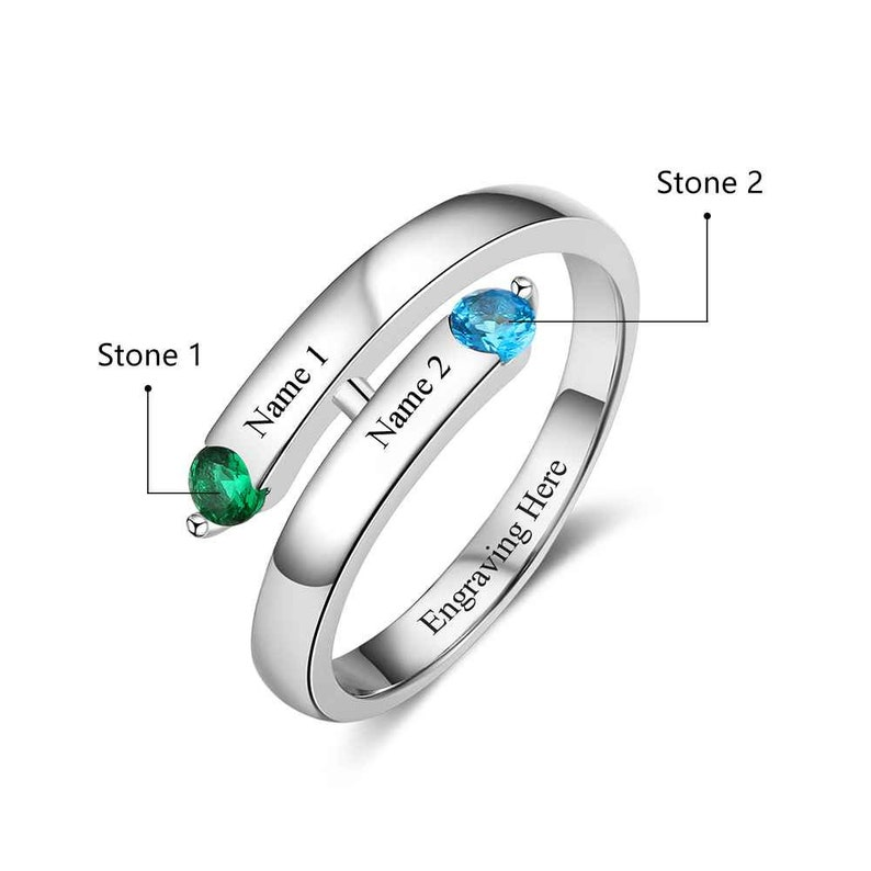 Personalized Engraved Sterling Silver Couples Ring