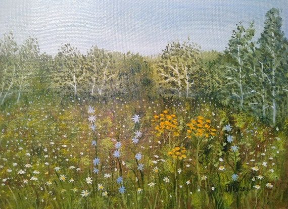 Nature Forest Summer Scenery Landscape Flowers Original Oil Painting Oil On Canvas Camomile Chicory Birch Trees