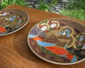 Vintage Satsuma Moriage Plates Set of 2 Hand Painted Janpese Madonna with Immortals