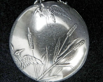 WOW Antique Art Nouveau Museum Quality Silver Chatelaine Box/Immaculated Pendant Pill Box/Prettily Decorated Cranes&Plants Silver Patch Box