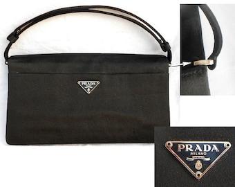f8041dadd5cc PRADA AUTHENTIC  Vintage Satin Bag with Magnetic Closure Black Evening Bag