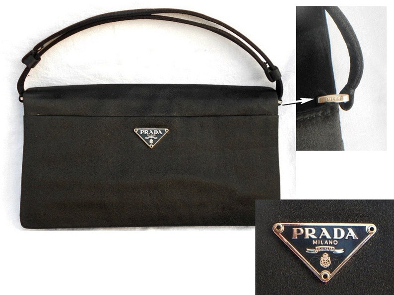 8822a5e4f20452 PRADA AUTHENTIC/ Vintage Satin Bag with Magnetic Closure/Black | Etsy