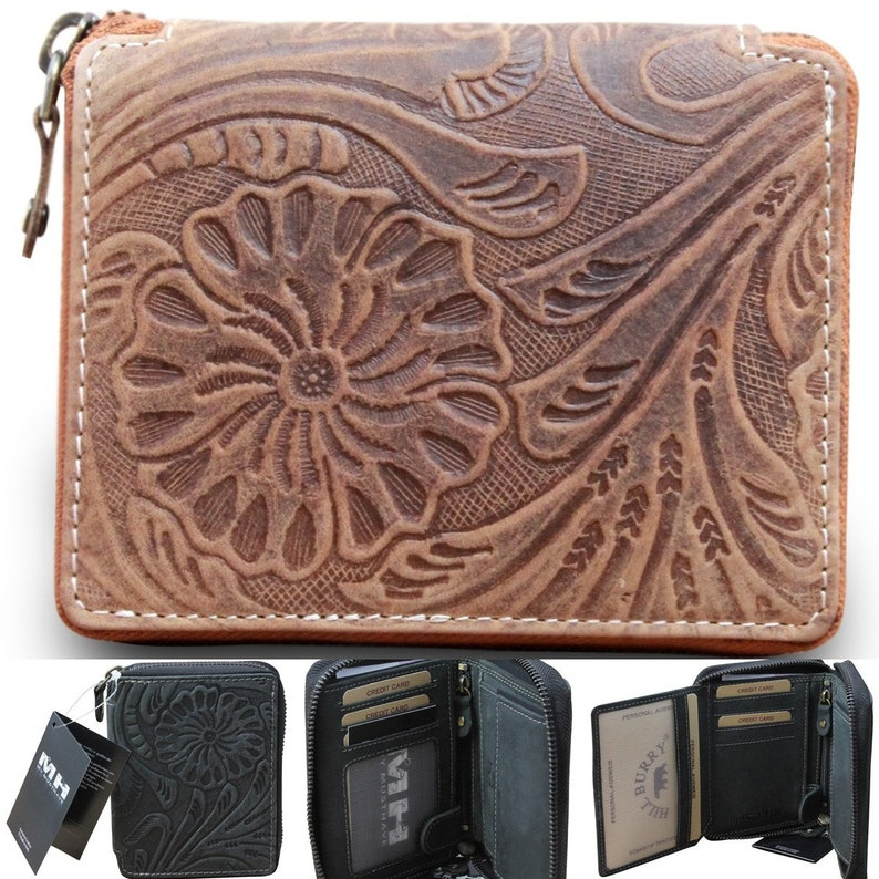 Used Buffalo Leather Women's Premium Hill BrowncolorBlack Burry Look Wallet w0OknP