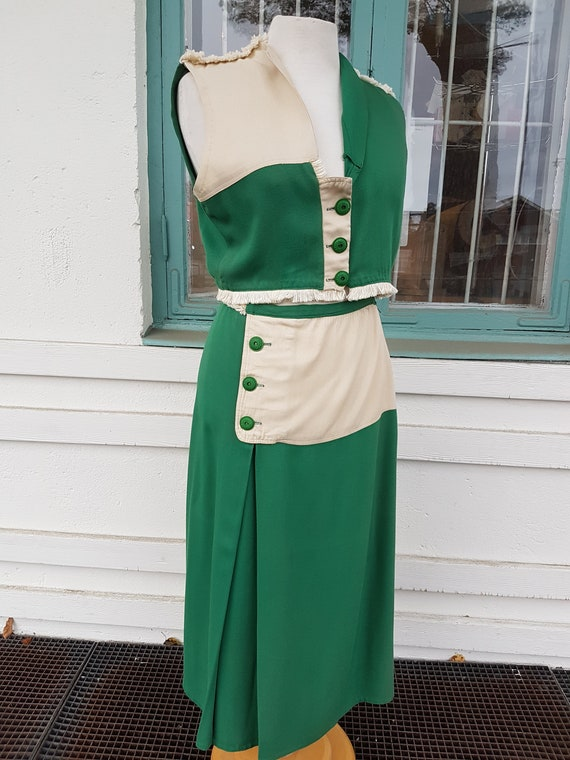 Vintage 40s Two Tone Western Inspired Skirt and B… - image 1