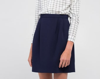 a61bf4c83 Navy Blue Woman Mini Wide Pleated Short Skirt with zipper on the back and High  waist, School Uniform, Casual Skirt