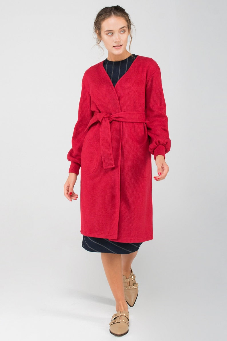 Warm cardigan Oversized cardigan Kimono red wool yarn wrap cardigan with belt and pockets