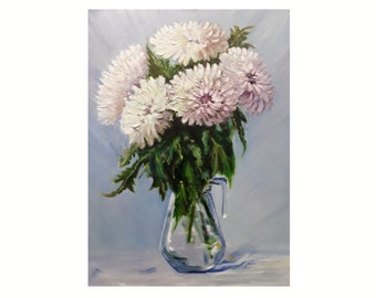 """White Chrysanthemums Flowers Oil Painting, Original Art Floral, Small Above Sofa Art 16 by 12"""" by AleksandraLoArt"""