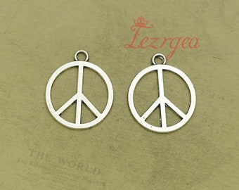16pcs Oxidized Silver Tone Base Metal Peace Sign Links-26x6mm 11654Y-G-71A