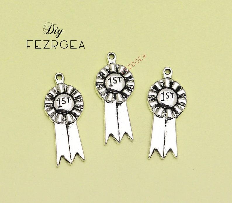 15PCS--12x27mm Antique silver 1st Prize Ribbon charms Ribbon pendants.