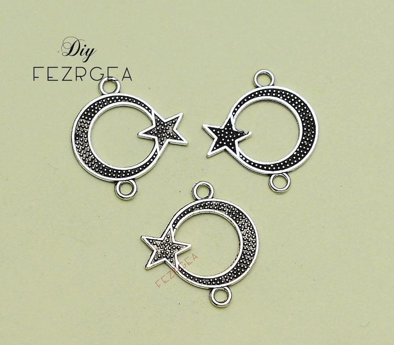 Night  pendants. Antique silver Moon and star connector Charms 35PCS--22x20mm