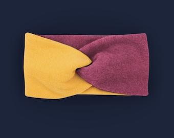 Headband 100% cotton fleece / warm / soft / lined / berry / custom color selection