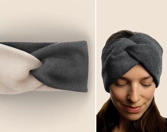 Headband 100% cotton fleece / warm / cuddly / soft / supple / elastic / lined / anthracite / custom color selection