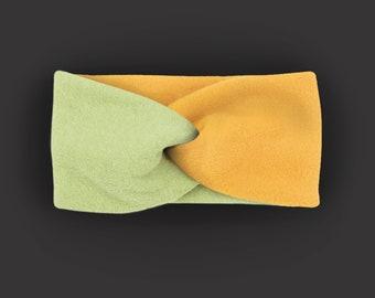Headband 100% cotton fleece / warm / cuddly / soft / supple / elastic / lined / yellow / custom color selection